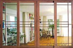 Sliding door with aluminum profile and glass