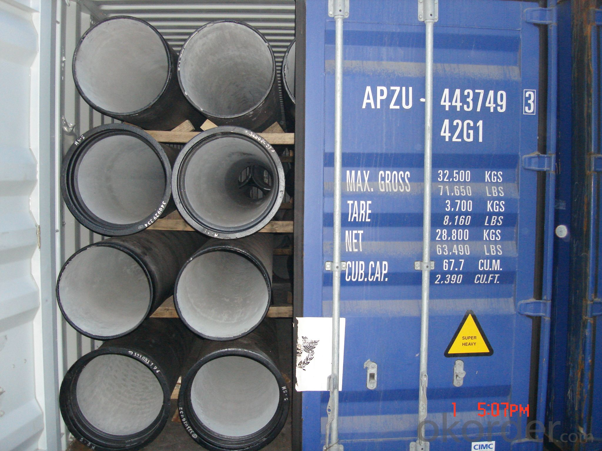ductile iron pipe DN500 K8 SOCKET SPIGOT PIPES