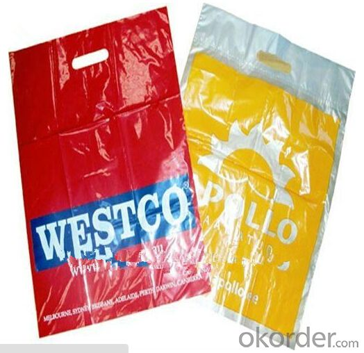 Hot seller Biodegradable Colored plastic die cut handle LDPE Shopping plastic Bag with high quality