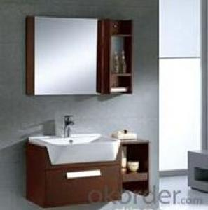 modern suspended bathroom cabinet with wood material