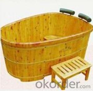 Wooden design solid surface bathroom bathtub B-7303