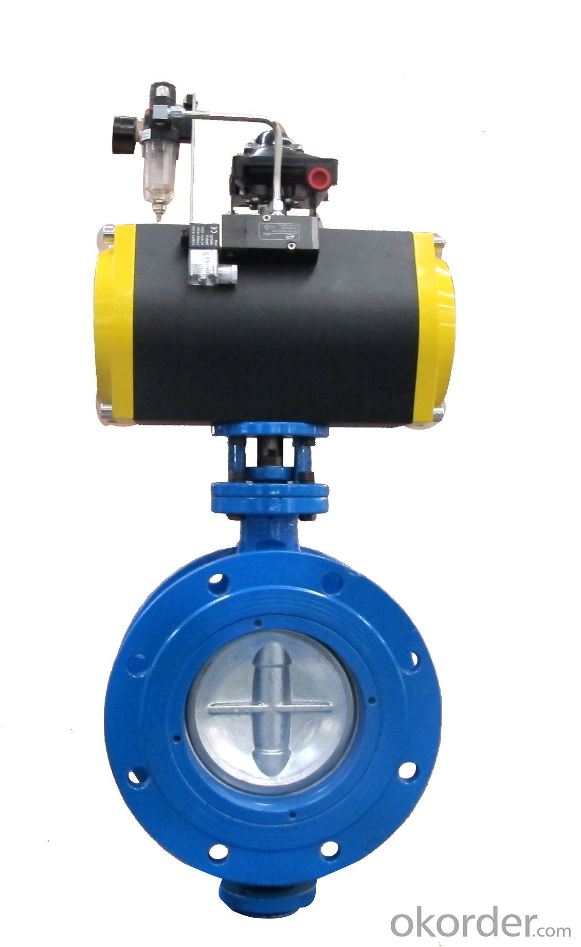 Three offset Pneumatic Double Flange Butterfly Valve DN150