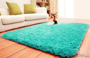 Green Handmade Thick Yarn Polyester Silk Shaggy Carpet