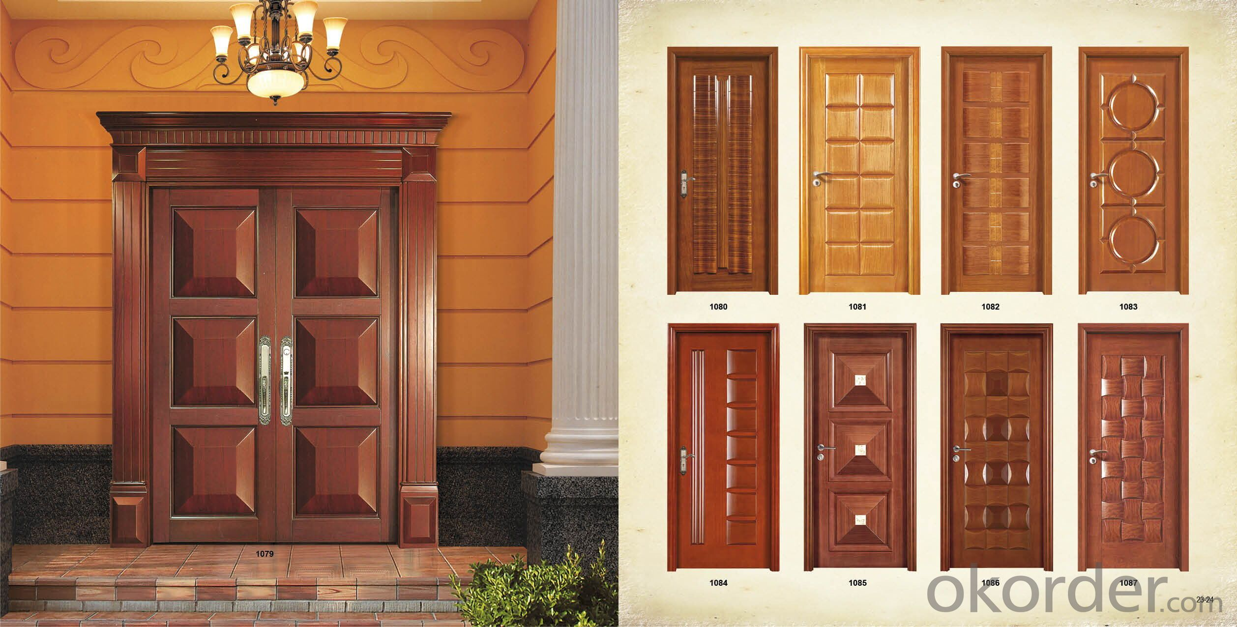 Buy morden soild wooden door design for hotel village for Home main door interior design