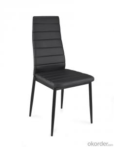 Dinning Chair with Leather Seat and Metal Legs