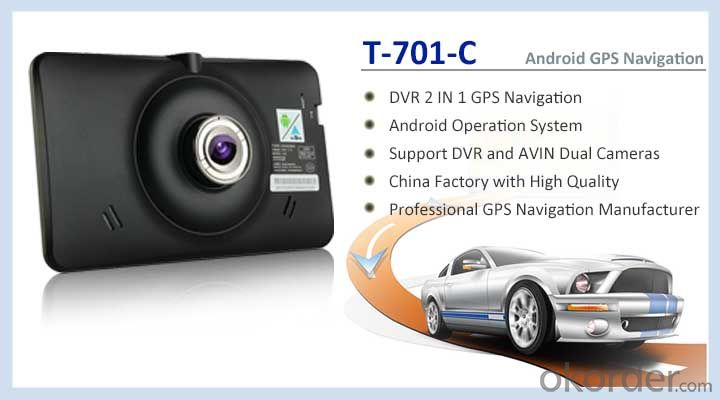 7.0 inch Android GPS Navigation Support DVR Function Car Black Box 1080P Camera and Wide View