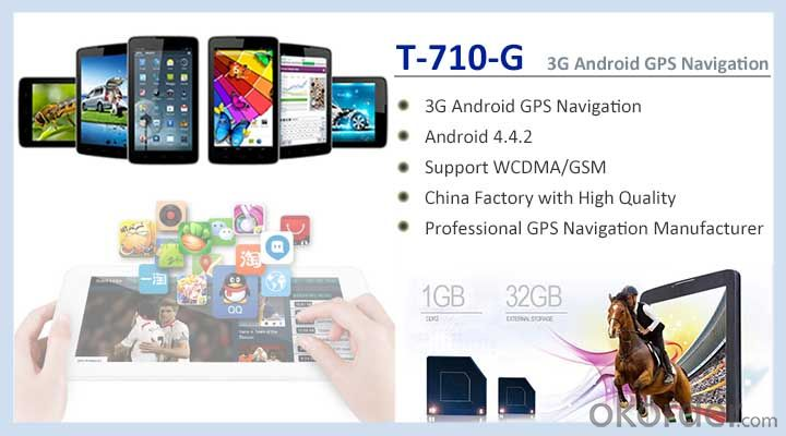 7 inch Android GPS Navigation Support WCDMA/GSM 3G PND and Bluetooth with Dual Camera