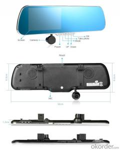 5.0 inch Android Rear-View Mirror GPS Navigation Support DVR and AVIN, Dual Camera