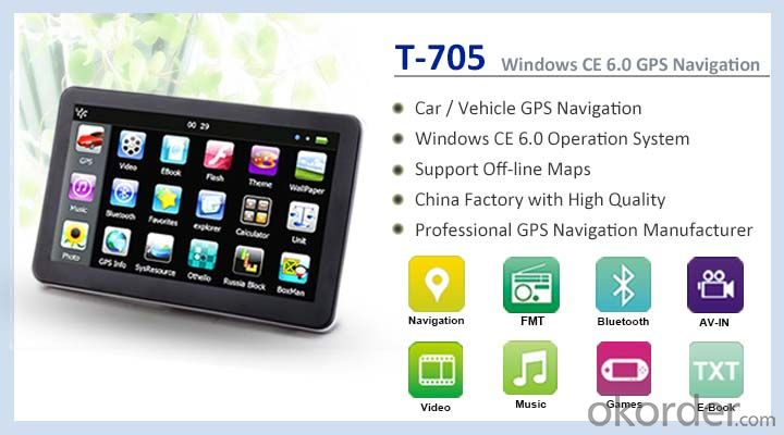 7 inch Portable GPS Navigation for Vehicle Support FM Bluetooth AVIN and ISDB-T