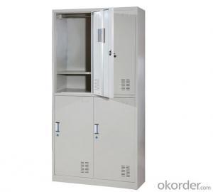Office Furniture School Locker Glass Double Door with Drawer