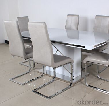 Medium Density Fiber Board Dining Table with Metal Strip