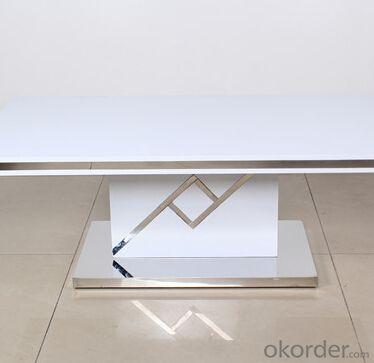 Medium Density Fiber Board Dining Table with Metalstrip