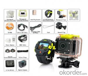 Best Selling FULL HD 1080P Action Camera with 2.4GHz Waterproof Watch Remote Control