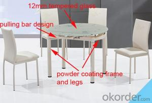Modern Glass Top Dining Table,Round and Rectangle