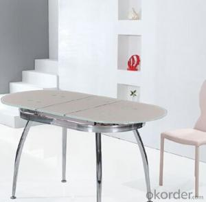 Popular Glass Dining Table with Chromed Frame