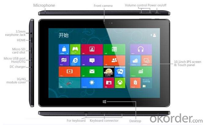 Intel Baytrail Z3735 Quad Core 10.1inch IPS 1280x800 3G Windows Tablet