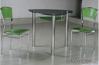 Glass Dining Table with Steel Tube in Triangle Shape