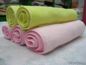 Microfiber cleaning towel with top design in low price