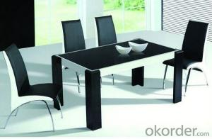 Glass Dining Table with Black Leather Chair