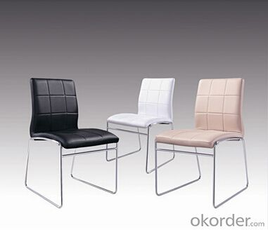 Dinning Chair by PVC Leather  and Chromed Steel Legs