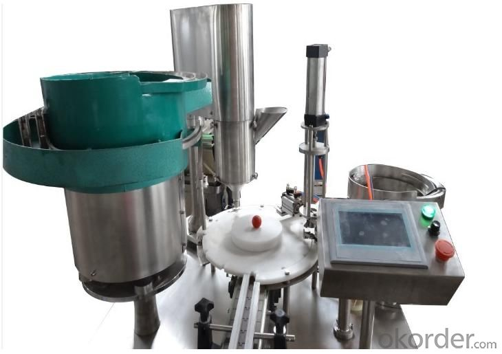 Powder Filling and Capping, Plugging and Crimping Machine