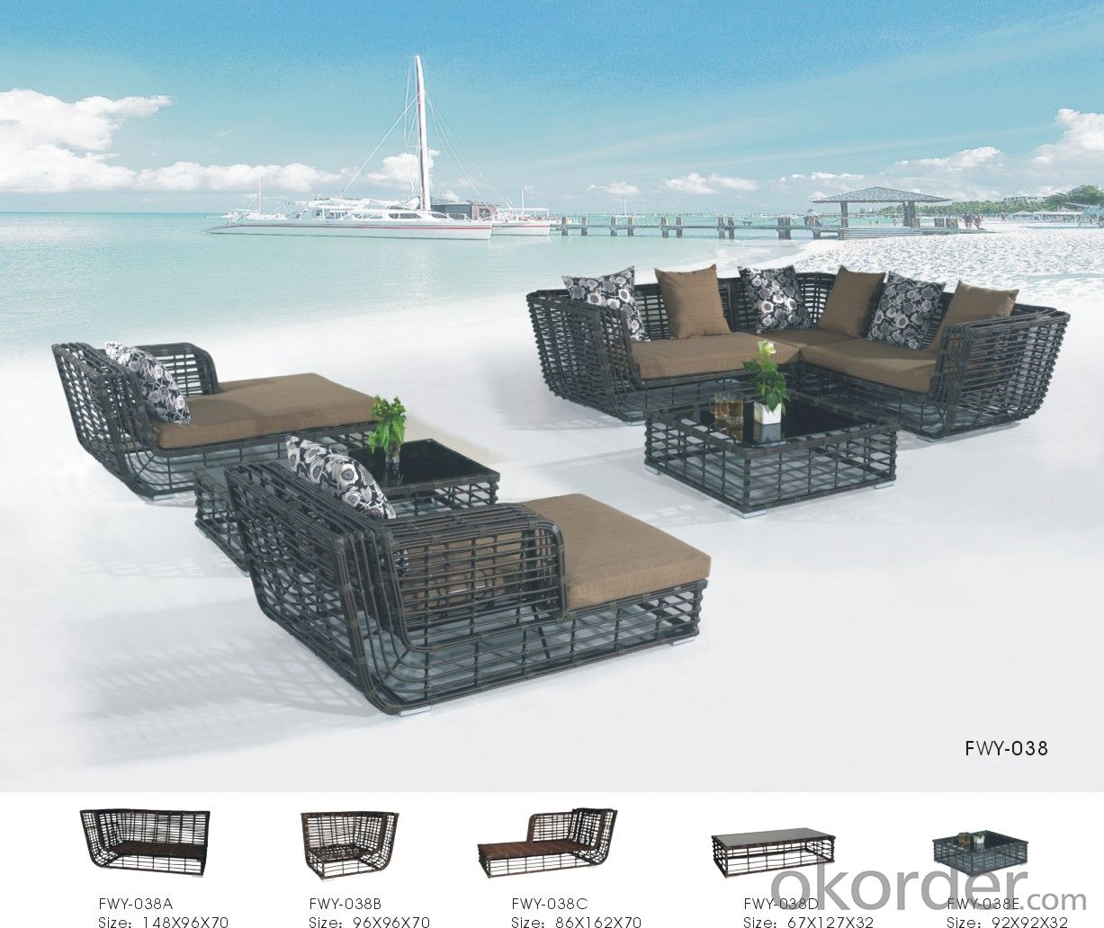 Garden Furniture Outdoor Sofa Patio Table with Wicker Rattan