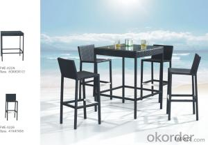 PE Rattan Bar Set Outdoor Stool Patio Furniture Wicker High Table