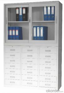 Metal Locker Office Furniture Glass Double Door