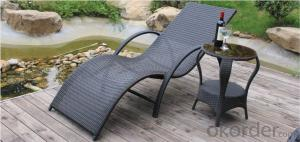 Durable outdoor Sunbed / Wave Shape Rattan Sun Lounger