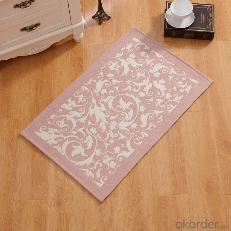 Red and White Color Chenille Polyester Jacquard Floor Carpets and Rugs
