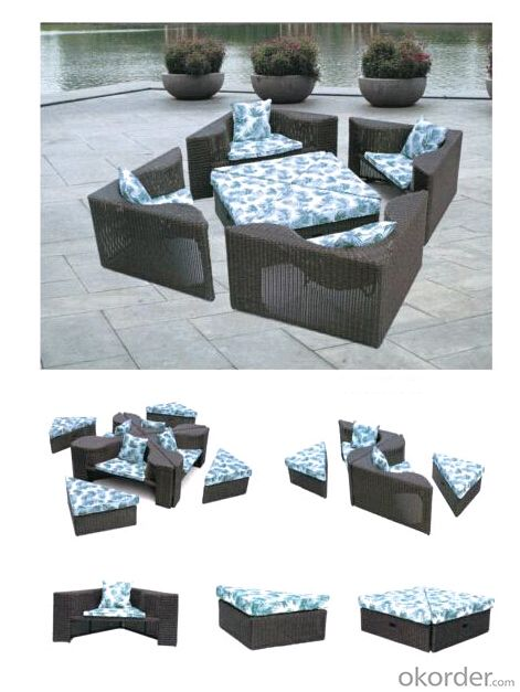 New Hot Trendy Cane Outdoor Patio Sofa Bed