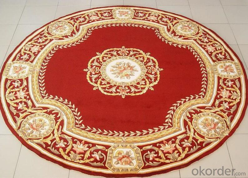 Hand Made Floral Pattern 100% Wool Carpet , High Pile Wool Rugs