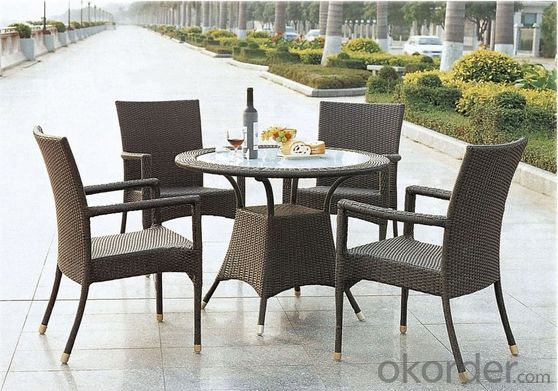 Aluminum PE Wicker Rattan Patio Leisure Outdoor Garden Dining Table