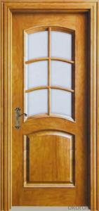solid wooden glass door