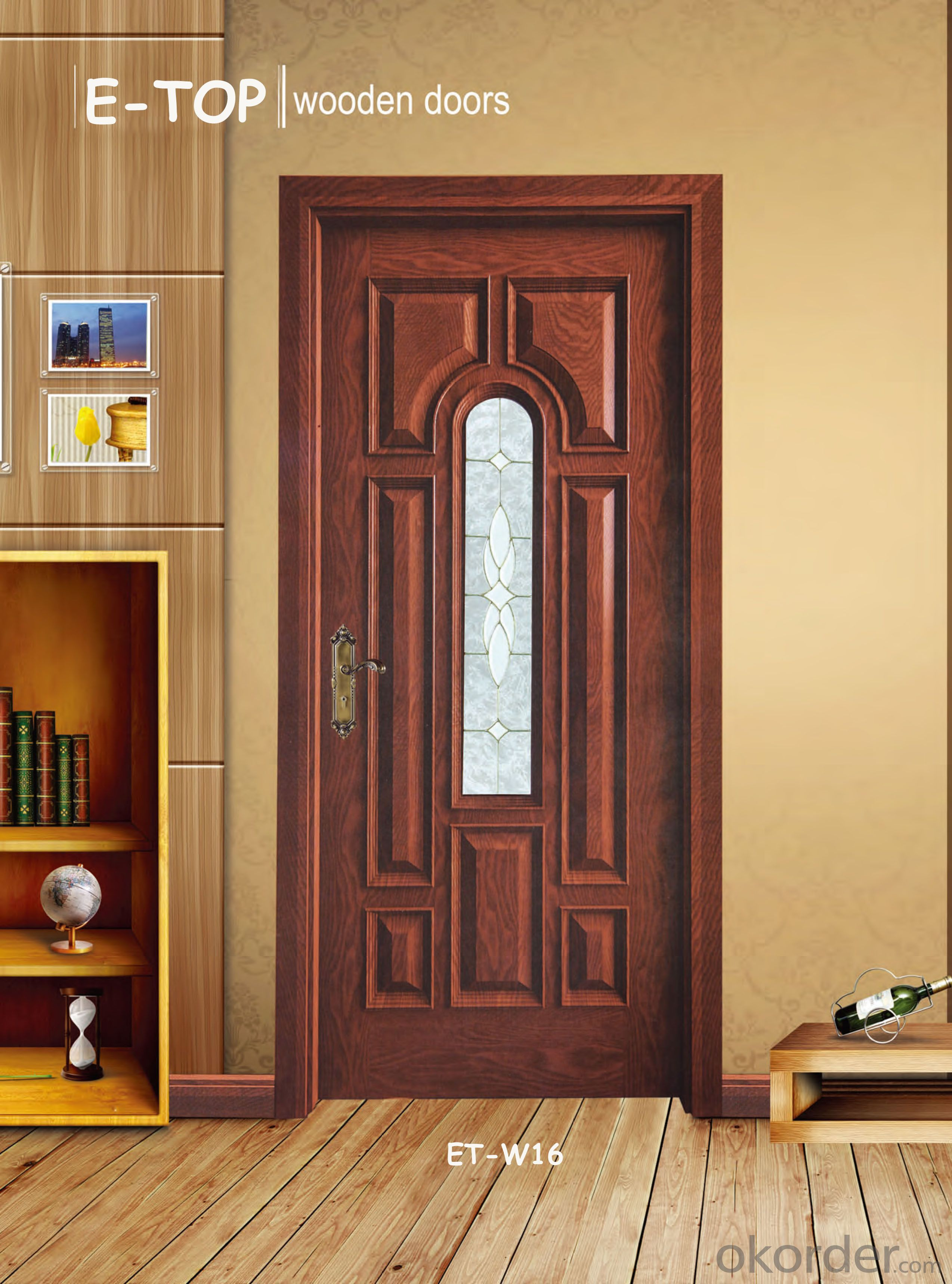 Solid wooden glass door single door  with best quality