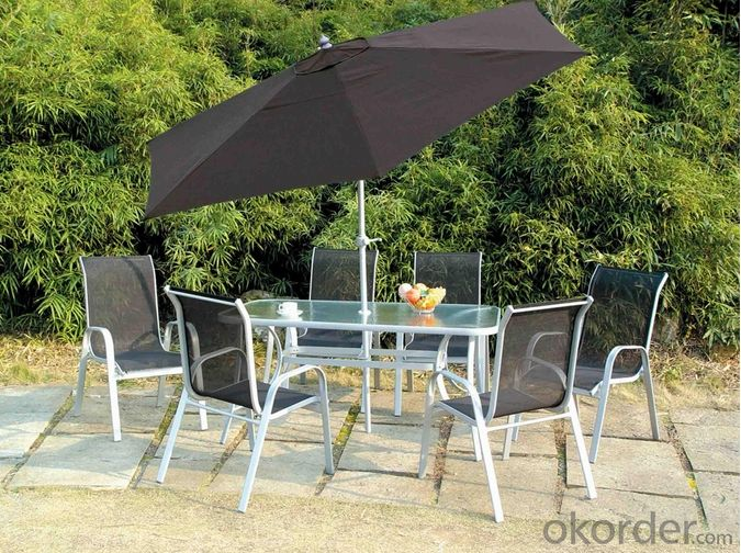Square Cast Aluminum Dining Table Set Garden Table