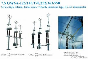 GW6A-145,single column,double arms,vertically shinkable type,AC, 145KV electrical disconnector
