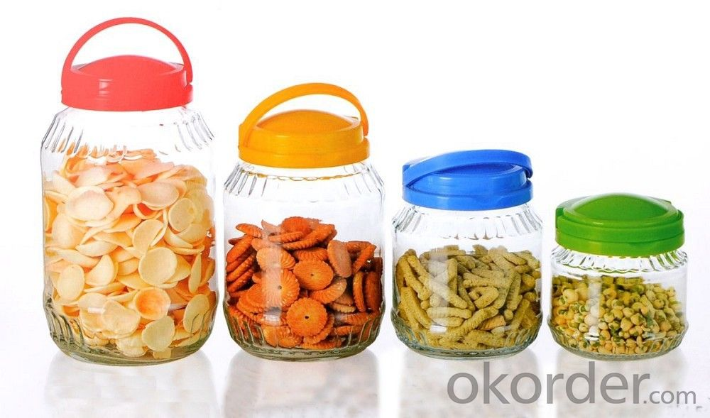 Big glass storage jar glass jar with handle lid