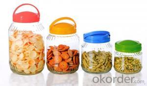 Big glass storage jar glass jar with handle lid