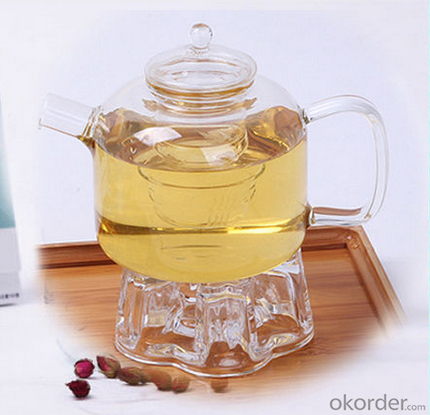 face shape transprent single wall glass teapot with strainer