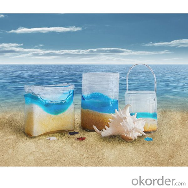 Wholesale different shaped handblown glass vase for home decoration with ocean design