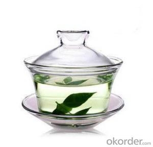 clear single wall glass tea cup and saucer