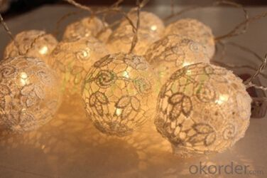 Battery Lights String with embroidered ball Ornament