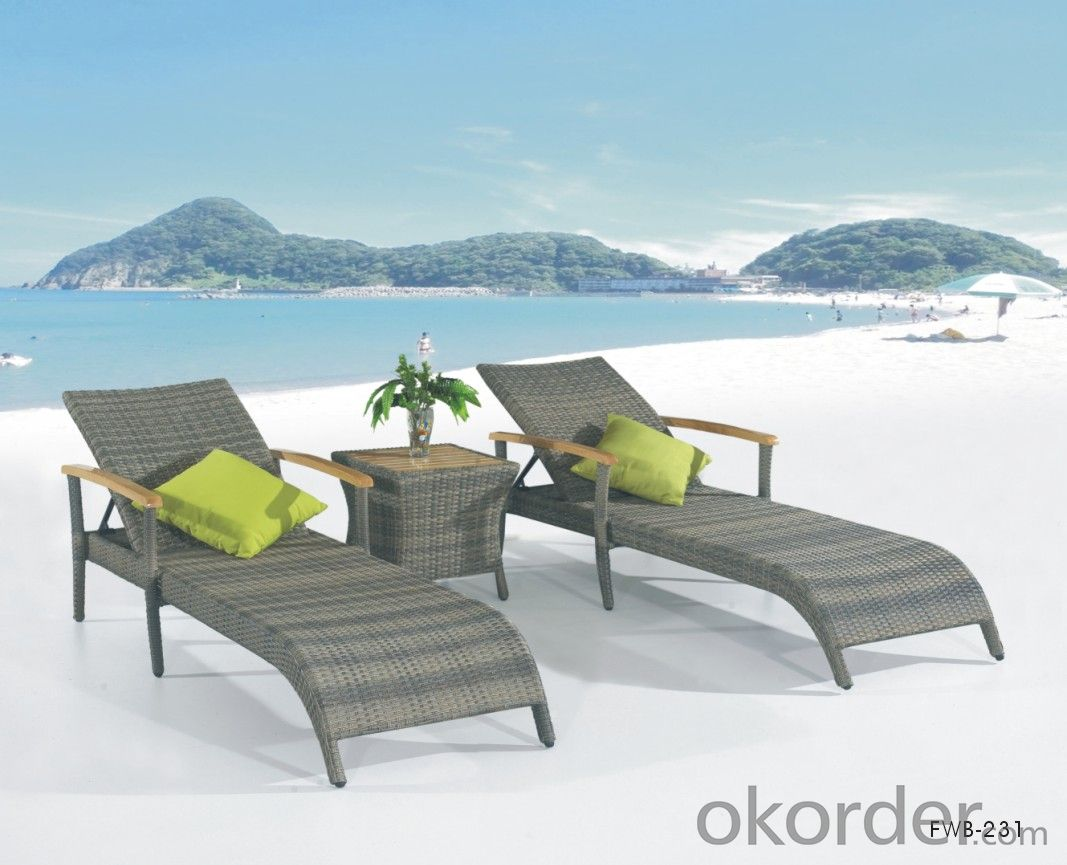 Outdoor Rattan Sun Lounger Patio Chair Chaise Lounger