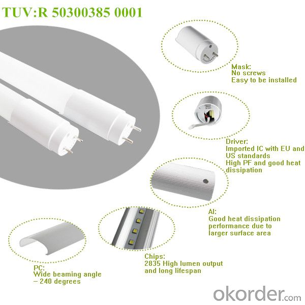 TUV Certified 2835 SMD 1.2m T8 18W LED TUBE with 3 years warranty