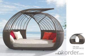 Outdoor Rattan Sun Lounger Wave Shape Outdoor Hotel