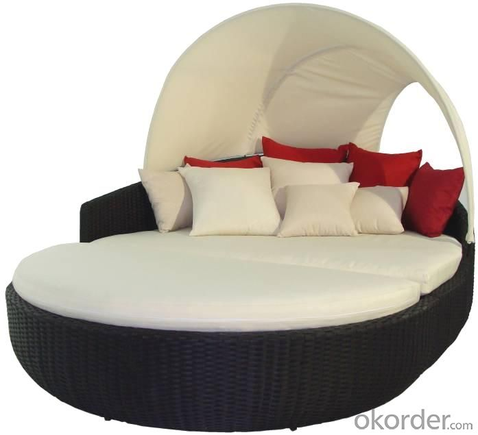 Outdoor Rattan Sun Bed Wave Shape Outdoor SPA