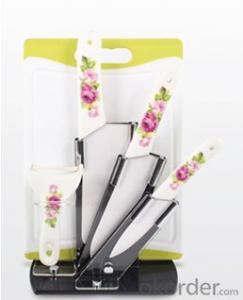 Art no. HT-TS1017 Ceramic knife set with acrylic stand and chopping board
