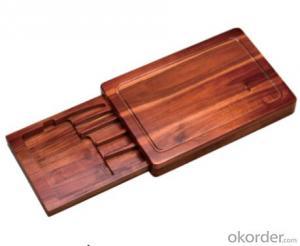 F-B004 acacia wood knife box and chopping block