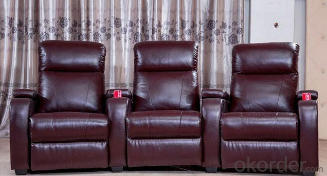 Manual Recliner and Leather Functional Sofa in Full Set